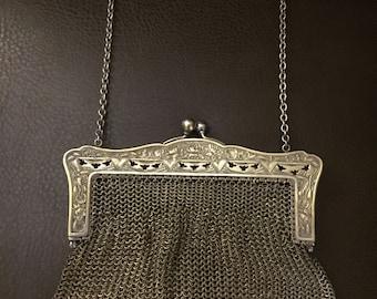 Antique Chainmail Purse, German Silver, Silver Mesh, Victorian Purse, Art Nouveau