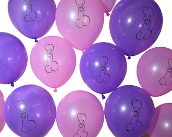 Bachelorette Party Pink and Purple Cute Penis Balloons