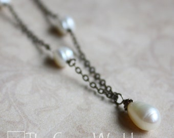 """20"""" Antiqued Brass Wire-Wrapped White Freshwater Pearl Necklace"""