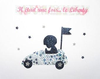 Applied fusible little boy car liberty Adelajda blue & car appliqué glittery flex fusible liberty iron on patch