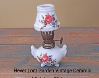 Miniature Floral Ceramic Oil Lamp Vintage