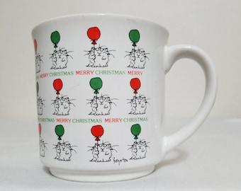 Christmas Mug Boynton Cat Balloon Merry Christmas Red Green
