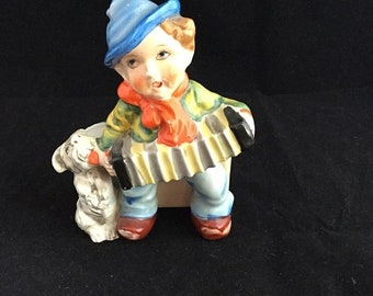 Spring Vintage 1950's Ceramic Planter, Hummel Style Boy Figurine, Playing Accordion