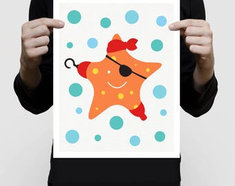 starfish pirate nursery art print, colourful kids art, sea, ocean, nautical nursery decor, pirate nursery, orange pirate decor, pirate art