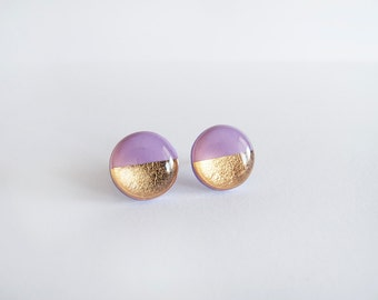 Purple Gold Round Stud Earrings - Hypoallergenic Surgical Steel Posts