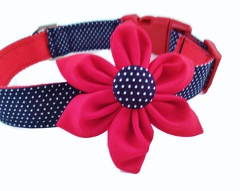 Vintage Style Dog Collar and  Flower Set,Navy Pin Dot and Red Flower, Adjustable Sizes for Small to Extra Large Dogs