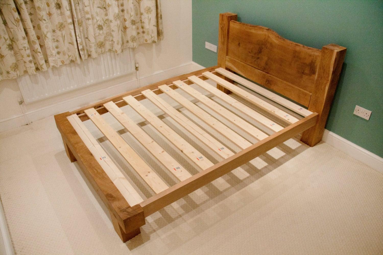 Marco de cama roble roble vigas marco sólido roble