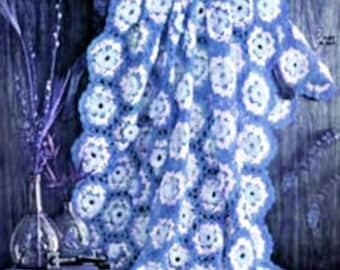 Crochet Hexagon Afghan Blanket Pattern - PDF Instant Download - Lap Blanket - Royal Blue Throw - Digital Pattern - Snow Flake Motif