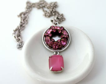 Pink Necklace, Recycled Jewelry, Bridal Necklace, Trendy Necklace, Upcycled Jewelry, Recycled Necklace, Rhinestone Necklace, Pink Jewelry