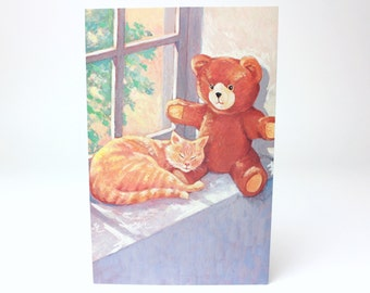"Vintage American Greetings ""You're so nice to cozy up to."" Romantic Teddy Bear & Cat Greeting Card - Pet Gallery Series"