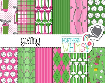 Golf Digital Paper - pink and green scrapbook paper with women's golfing themed patterns - balls, tees, bags & clubs - commercial use OK