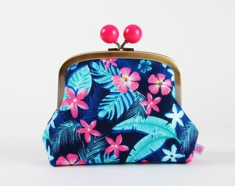 Metal frame clutch bag - Tropical forest - Color bobble purse / Green palm monstera leaves / Pink flowers / Blue yellow
