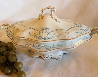 Antique W.H. Grindley Oval Covered Serving Bowl - Blue Festoon Floral Pattern, Circa 1898