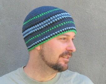 mens cotton beanie/ denim blue green crochet