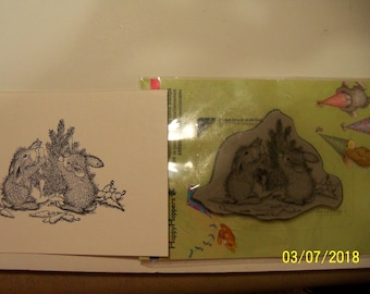 Stampendous Happy Hoppers mounted rubber stamp: Bunny Tree
