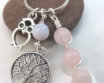 Rose Quartz keychain - gemstone keyring - owl bag charm - owl keychain - tree of life keychain - tree keychain - silver with swivel clasp