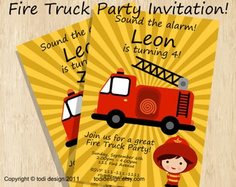 Birthday party invitations - Fire Truck Birthday Invitation - Printable digital file