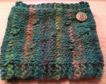 Snuggly cowl: crocheted warm scarf, present for partner, wife, girlfriend, 100% wool