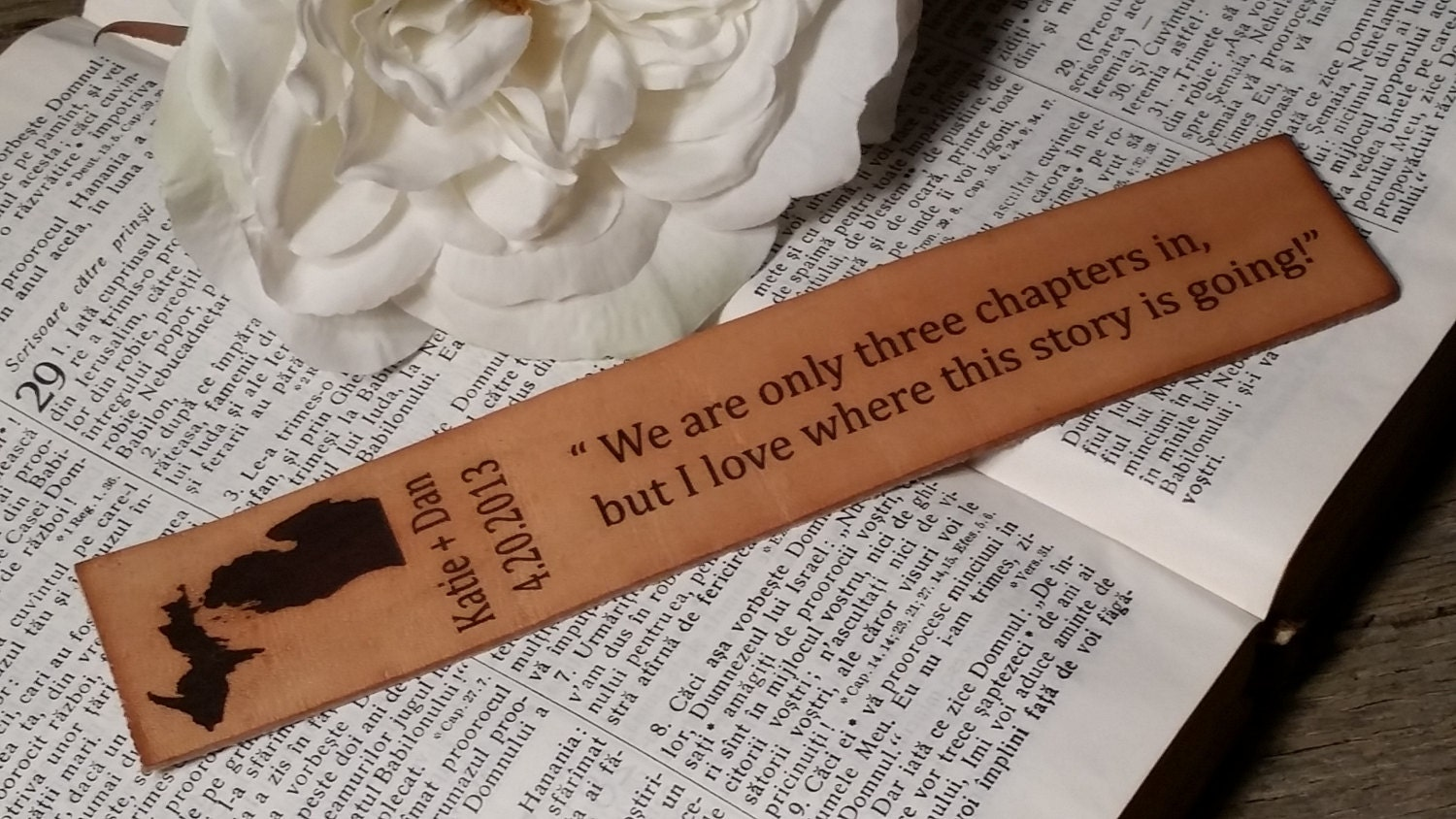 Gifts For 3 Year Wedding Anniversary: 3rd Wedding Anniversary Custom Engraved Leather Bookmark
