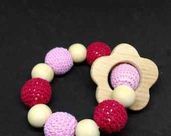 Montessori inspired teething ring rattle