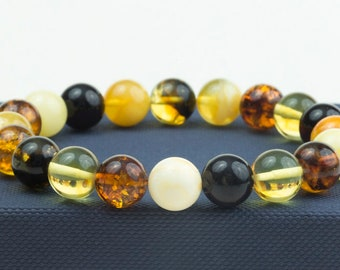 Handmade Baltic Amber Bracelet. Multicolor Polished Amber Beads. Cognac, Lemon, Cherry Amber. Women Bracelet. Perfect Amber Gift.  Unisex.