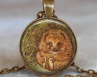 Mr Pricklepin pendant, hedgehog pendant, hedgehog necklace, story book pendant Beatrix Potter pendant key chain key ring key fob