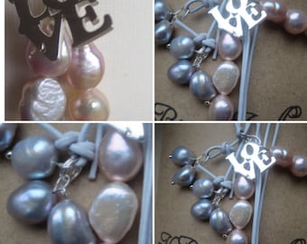 Pearl Lariat, Love Pendant Necklace, Pearl Love Pendant Lariat, Handmade Pearl Necklace, Designer Pearl Lariat, Edinburgh Jewellery Designer