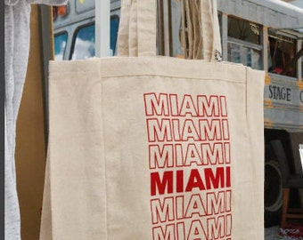 Miami Reusable Canvas Tote, Reusable Bag, Tote, Grocery Tote, Canvas Tote, Cotton Tote, Recycle, Shopping Tote, Environmentally Friendly,