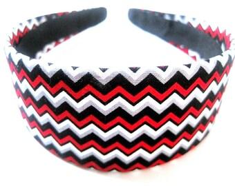 Red Black White Gray Zig Zag Headband 2 Inch
