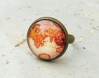 Map ring, Adjustable map ring, antique map ring,World map ring, vintage atlas ring, gift for the traveler, wanderlust ring