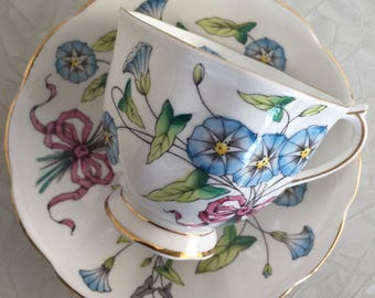 Resereved for Ijyo Royal Albert Teacup and saucer, Flower of the Month Series, Morning Glory , September # 9,