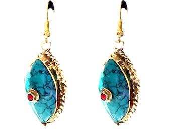 Nepal Turquoise Earrings, Nepal Jewelry,Vintage Gold,Antique Earrings,Tibetan jewelry,Afghan Jewelry by Taneesi YE0725ET