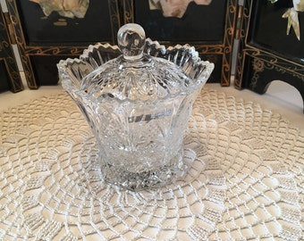 Studio Nova Japan ~ Crystal Covered Dish ~ Crystal Condiment Dish ~ Stars Hobstar Fans Roses Design ~ Jelly Dish ~ Relish Dish ~ Vintage