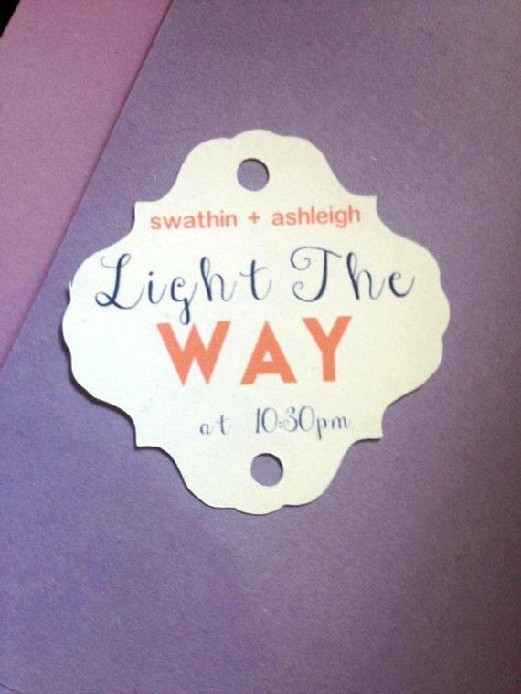 Light the Way Sparkler Tag, set of 12, custom colors, sparkler sendoff, Sparkler Sleeves, Let Love Sparkle, Wedding Favors