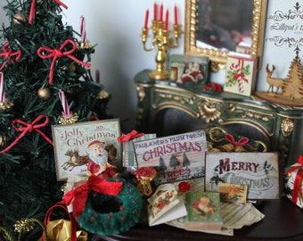 Dollhouse miniature CHRISTMAS' signs