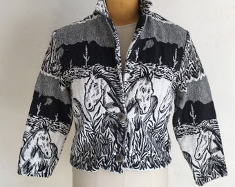 Vintage cotton cropped Horse western jacket