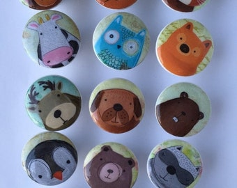 SALE15 Woodland dresser pulls wood knobs decorated with cute animal images 1 1/2 inch set of 6