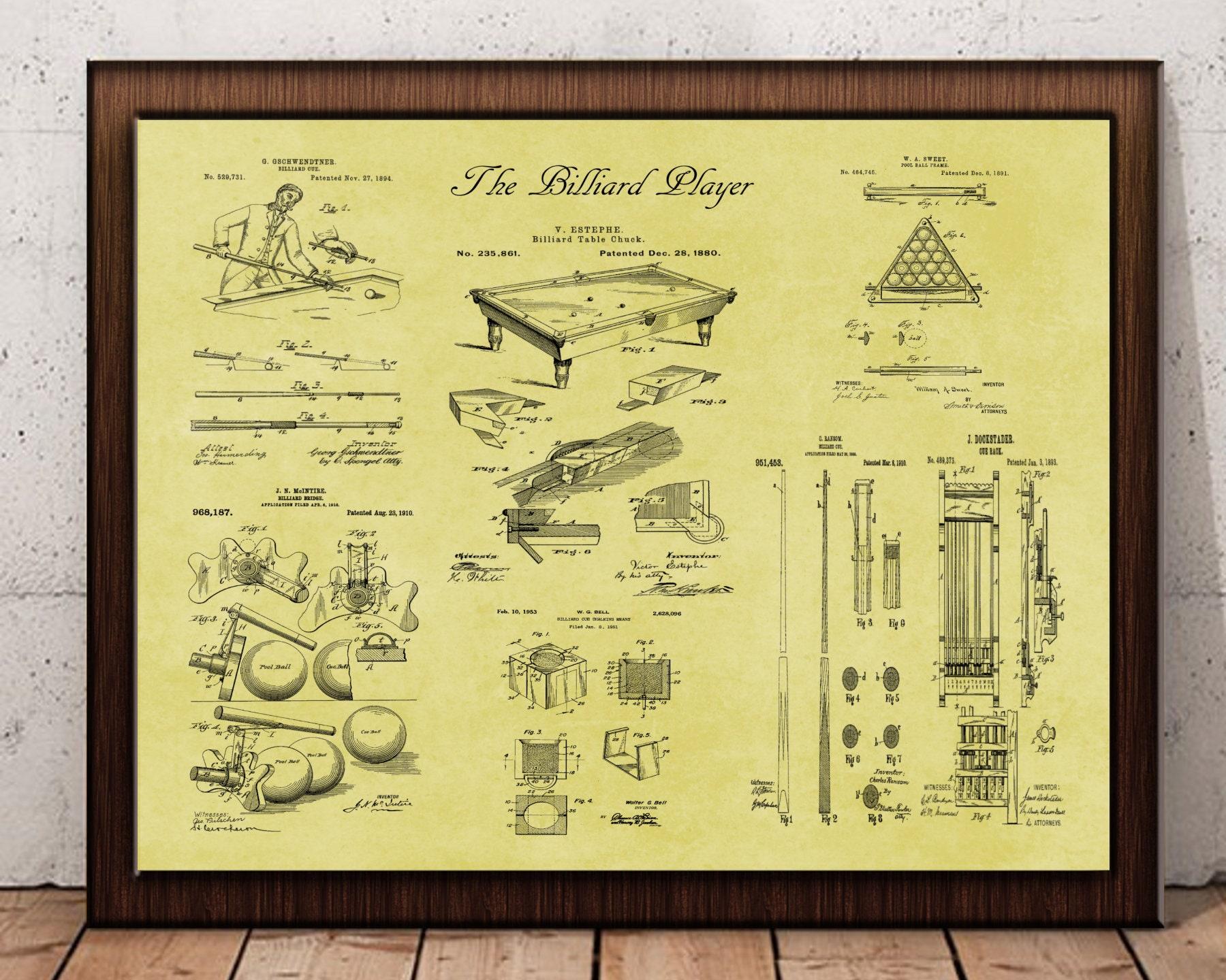 Billiards Patent Design Billiards Art Billiard Billiard