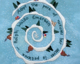 Emerson Winter, Embroidery Pattern pdf, Instant Download, Surface Embroidery, DIY Embroidery Patterns, Gnomes, Ralph Waldo Emerson