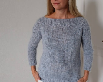 Sweater (pullover, sweater, jacket) handmade, color blue/grey Alpaca/mohair/Silk size S/M
