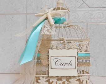 Beach Wedding Birdcage Card Holder | Beach Wedding Card Box | Summer Wedding Decor | Beach Themed Wedding | Starfish