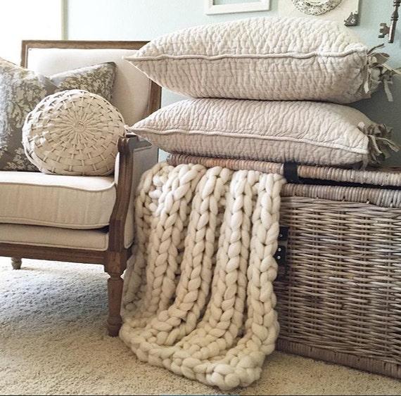 "Chunky Knit Blanket, 36x54"" Pure Merino"