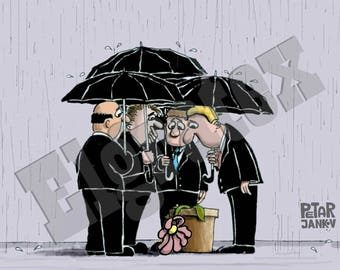 "Color Hand-Drawn Downloadable Cartoon, Funny Digital Comic, Cartoons, humor art gift - ""Compassion"""