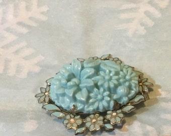 1940s Coro Blue Flower Vintage Brooch