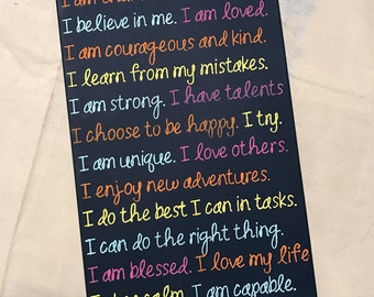 Kids Art, Affirmations Canvas, positive,