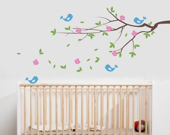 Cherry Branch Wall Decal - Cherry Tree Branch with Blossoms Wall Decal - Cherry Sticker - WAL-2118
