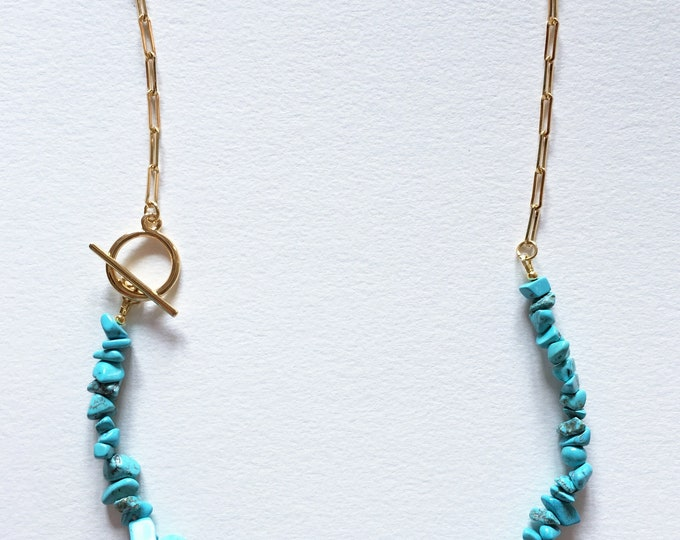 Turquoise necklace, Golden brass chain necklace with turquoise stones