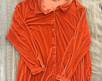 orange velvet button up