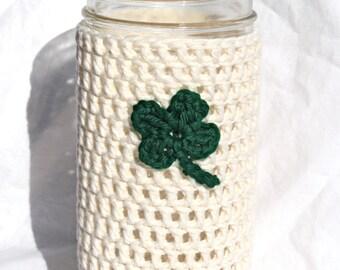 Pint and Half Mason Jar Cozy - St. Patrick's Day - Four Leaf Clover - Shamrock