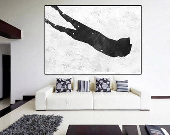handmade original abstract Painting on canvas, Abstract Canvas Painting, large Canvas Art, Black and White painting